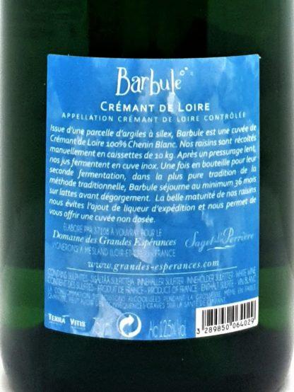 Commande de crémant sur internet - Loire Barbule de Saget la Perrière 100% Chenin blanc - Tastavin caviste en ligne