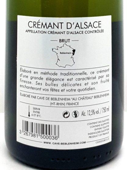 Crémant d Alsace brut à commander en ligne - Alsace Baron de Hoen - Cave de Beblenheim - Tastavin votre caviste vous livre à la maison