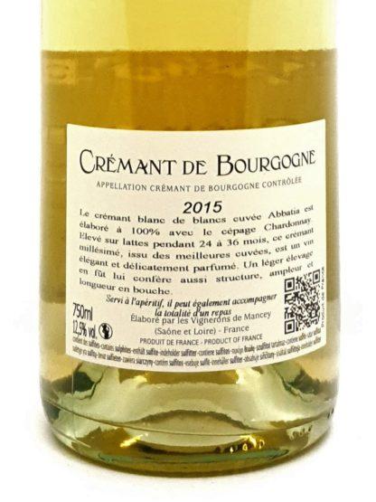 Crémant de Bourgogne millésimé 2015 - Cent pour cent Chardonnay - Abbatia des vignerons de Mancey - Tastavin vendeur de vin en ligne