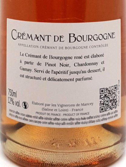Crémant de Bourgogne rosé à base de Pinot noir, Chardonnay et Gamay - Vignerons de Mancey - Achetez votre vin en ligne chez Tastavin