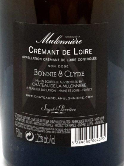 Crémant de la Loire millésimé 2012 - Bonnie and Clyde du château de la Mulonnière - Saget la Perrière - Tastavin vendeur de vin sur internet