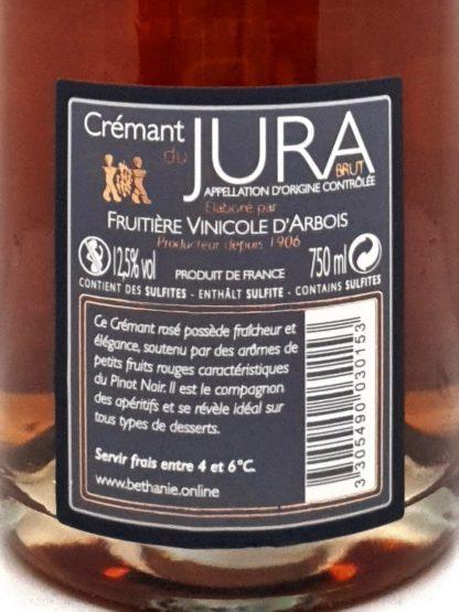 Etiquette crémant rosé du Jura à base de pinot noir chez Tastavin, votre vendeur de vin en ligne