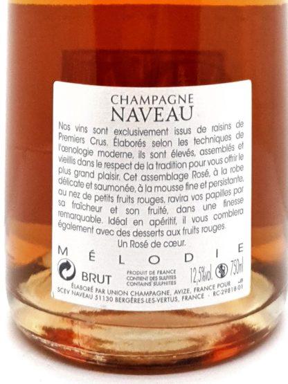 Explication étiquette du Champagne rosé premier cru Mélodie du domaine Naveau - Tastavin commande de vin sur internet