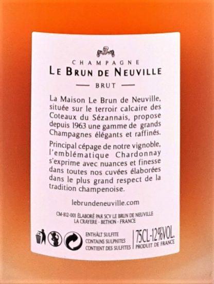 Etiquette de la bouteille de champagne rosé Le Brun de Neuville à commander en ligne chez Tastavin