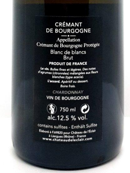 Achat de crémant de Bourgogne en ligne - 100 % Chardonnay blanc de blancs Chateau de l Eclair - Tastavin
