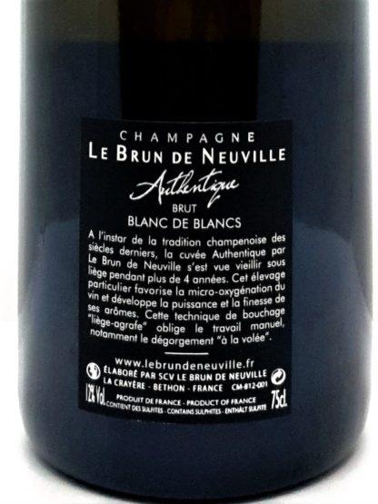 Livraison de vin à domicile - Champagne blanc de blancs Authentique du domaine Le Brun de Neuville - Tastavin votre caviste
