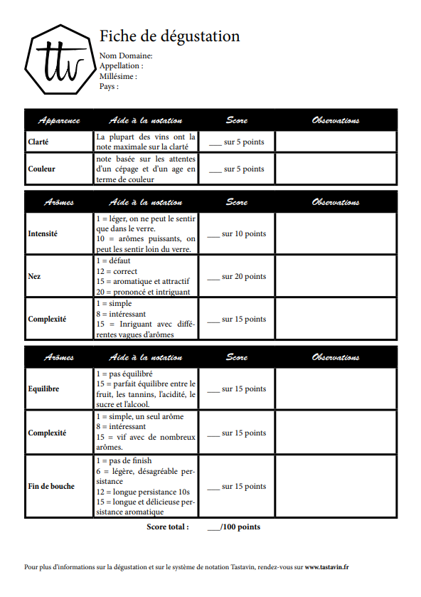Fiche de dégustation du vin à télécharger en format PDF sur le guide du vin en ligne de votre caviste Tastavin.