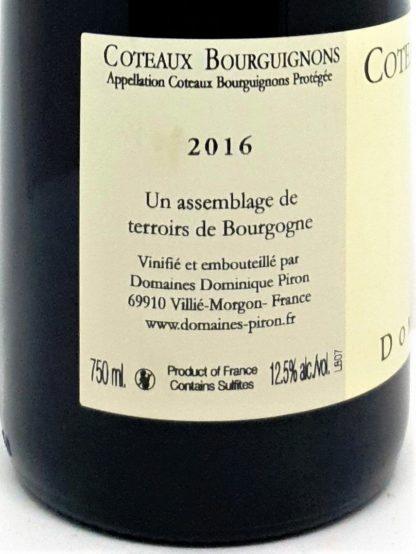 Livraison de vin en ligne Coteaux Bourguignons 2016 des domaines Dominique Piron - tastavin, votre caviste préféré sur internet vous livre à domicile.