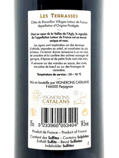 Livraison de vin en ligne - Côtes du Roussillon villages - Latour de France - Les Terrasses 2014 - Vignerons catalans - tastavin votre caviste sur internet