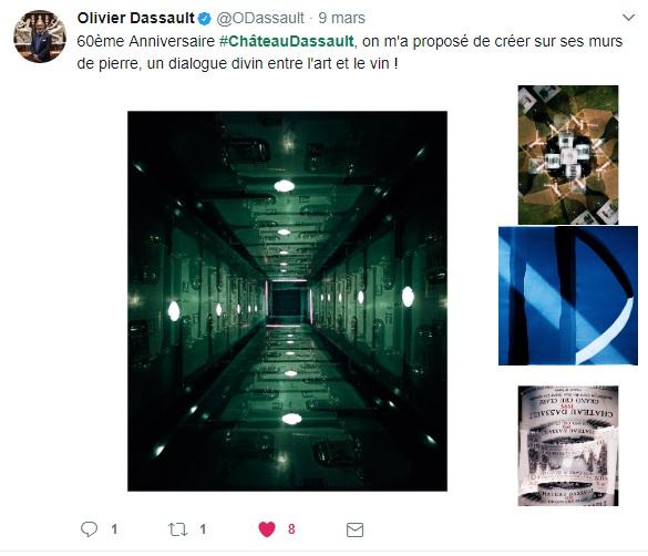 Olivier Dassault tweet pour le 60ème millésime du Château Dassault