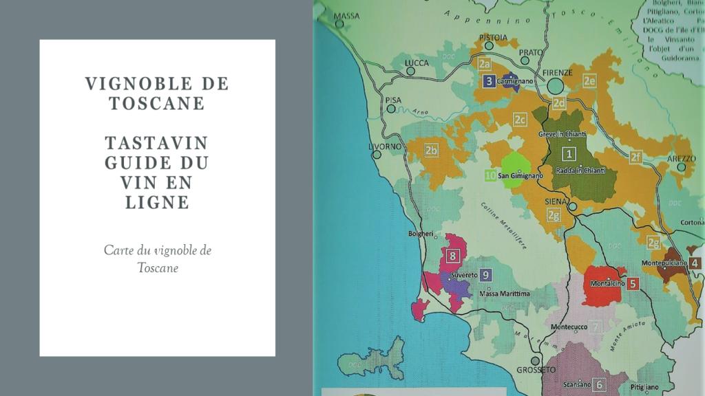 Carte du vignoble de Toscane - Guide du vin en ligne de votre caviste sur internet Tastavin